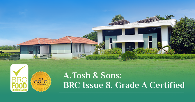 A.Tosh & Sons: BRC Issue 8, Grade A Certified